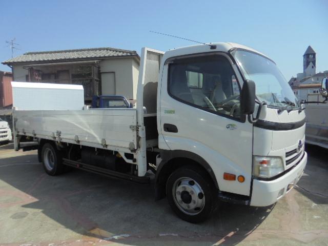 中古トラック H23年 日野3tアルミ平 垂直P/G付  フルフラットロー