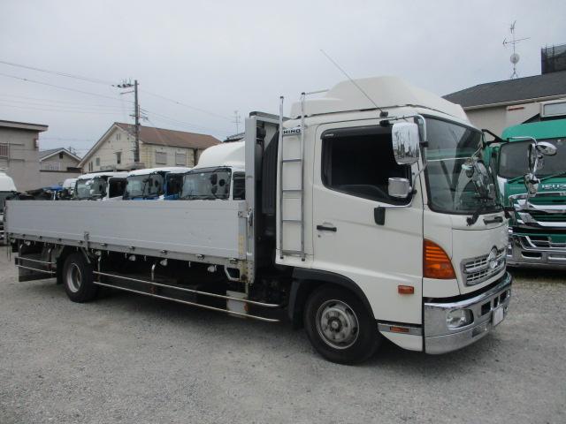 中古トラック 【動画】H24年 日野 4tアルミ平 メッキ 床鉄板 ワイド